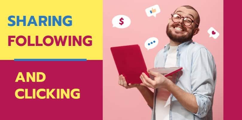 sharing following and clicking
